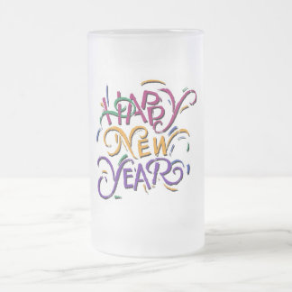 Happy New Year Color Frosted Glass Beer Mug