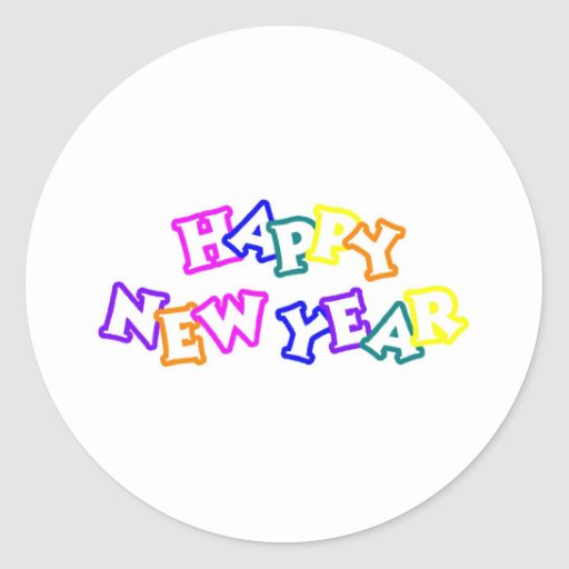 Happy New Year Color Stickers