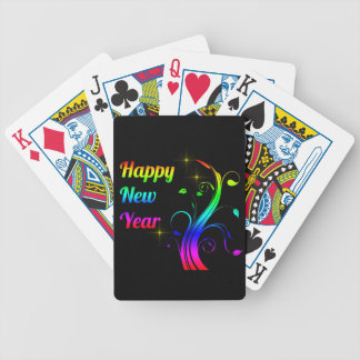 Happy New Year colorful Bicycle Playing Cards