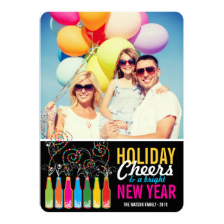 Happy New Year Colorful Bubbly Bottles Greetings Custom Invitation Card