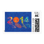 Happy New Year Colorful Mechanical Gears Postage