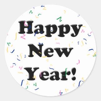 Happy New Year! Confetti Round Stickers