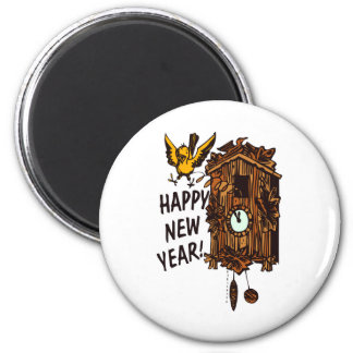 Happy New Year CooCoo 2 Inch Round Magnet