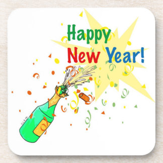 happy new year beverage coasters