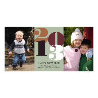 Happy new year count down brown funky greeting photo card