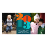Happy new year count down navy funky greeting photo card template