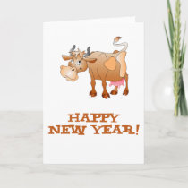 Happy New Year Cow Holiday Card