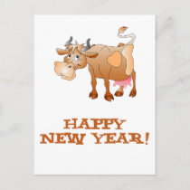 Happy New Year Cow Holiday Postcard