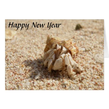 Beach Themed Happy New Year Crab Card