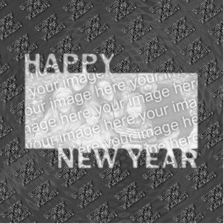 Happy New Year Cut Out Photo Frame - Silver