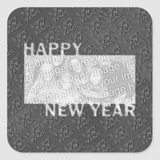 Happy New Year Cut Out Photo Frame - Silver Square Sticker
