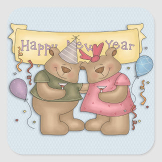 Happy New Year, Cute Bears Square Sticker