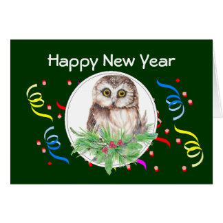 Happy New Year, Cute Owl Bird Greeting Card