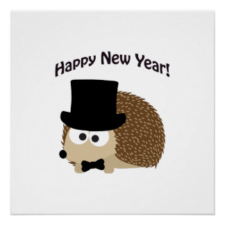 Happy New Year! Dapper Hedgehog Poster