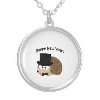 Happy New Year! Dapper Hedgehog Silver Plated Necklace