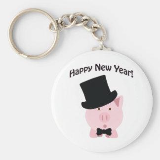 Happy New Year! Dapper Pig Basic Round Button Keychain