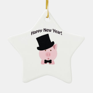 Happy New Year! Dapper Pig Double-Sided Star Ceramic Christmas Ornament