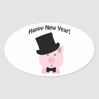 Happy New Year! Dapper Pig Oval Sticker