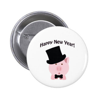 Happy New Year! Dapper Pig Pinback Button