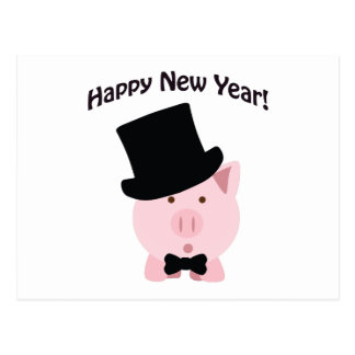 Happy New Year! Dapper Pig Postcard