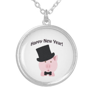 Happy New Year! Dapper Pig Silver Plated Necklace