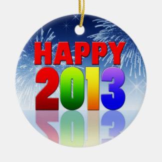 Happy New Year Design Ceramic Ornament