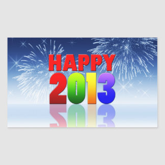 Happy New Year Design Rectangle Stickers