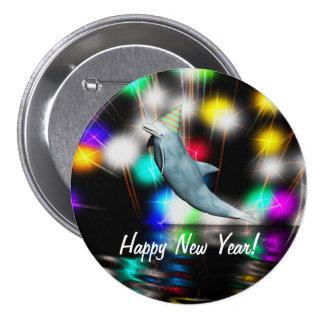 Happy New Year Dolphin 3 Inch Round Button
