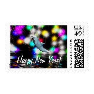 Happy New Year Dolphin Postage