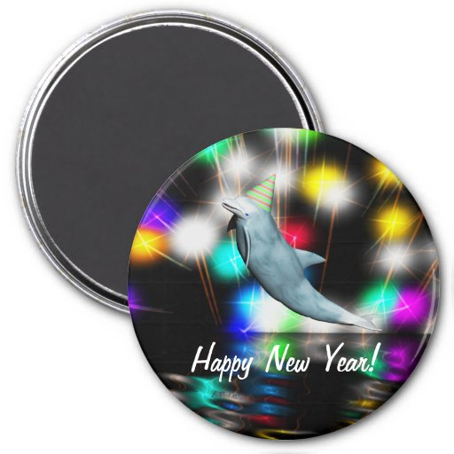 Happy New Year Dolphin Refrigerator Magnet