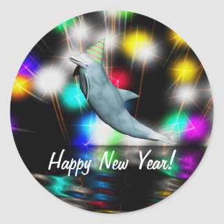 Happy New Year Dolphin Round Stickers