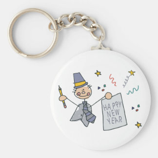 Happy New Year Doodle Basic Round Button Keychain