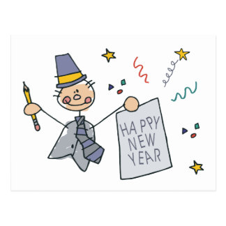 Happy New Year Doodle Post Card