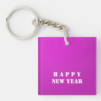 HAPPY NEW YEAR double sided ADD text photo DIY Keychain