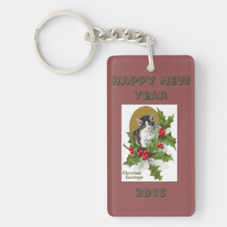 Happy New Year Double-Sided Rectangular Acrylic Keychain