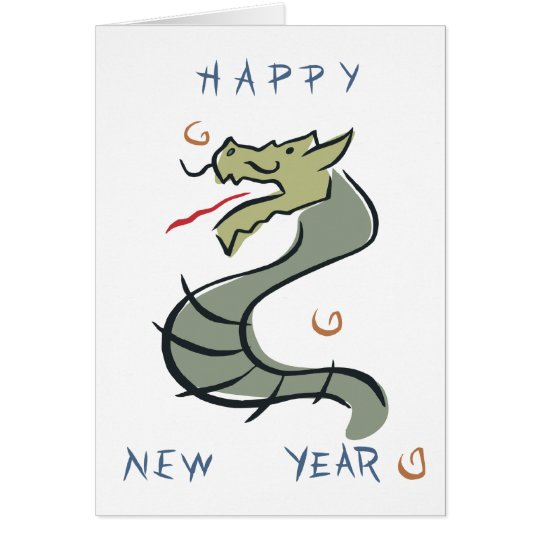 Happy New Year Dragon Card