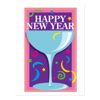 Happy New Year Drink Postcard