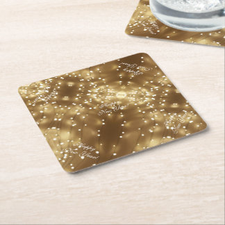 Happy New Year Elegant Festive String of Lights Square Paper Coaster