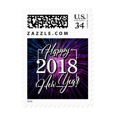Professional Business HAPPY NEW YEAR ELEGANT PURPLE FIREWORKS POSTAGE