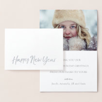 HAPPY NEW YEAR Elegant Script Holiday Photo SILVER Foil Card