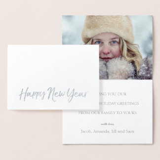 HAPPY NEW YEAR Elegant Script Holiday Photo SILVER Foil Card