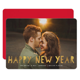 Happy New Year Faux Foil | New Year Holiday Card
