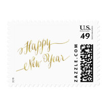 Happy New Year Faux Gold Foil Greeting Postage