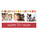 Happy New Year Festive Swirl Photo Collage in Red Photo Card