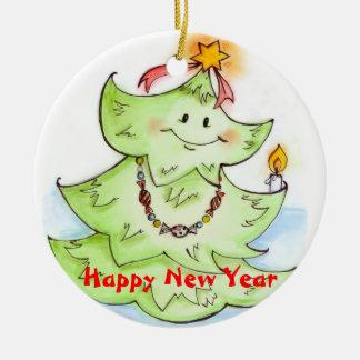 Happy New Year Fir-Tree Ornament