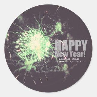 Happy New Year (firework) Classic Round Sticker
