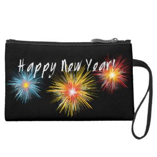 Happy New Year Firework Suede Wristlet Wallet