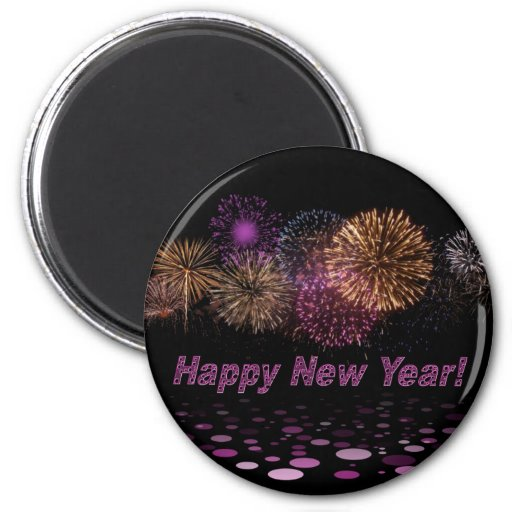 Happy new Year - fireworks 2 Inch Round Magnet