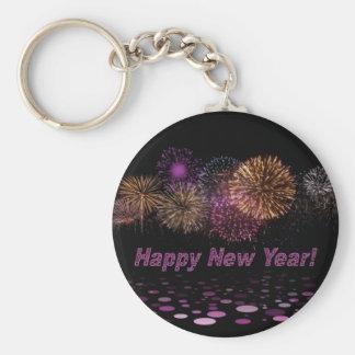 Happy new Year - fireworks Basic Round Button Keychain