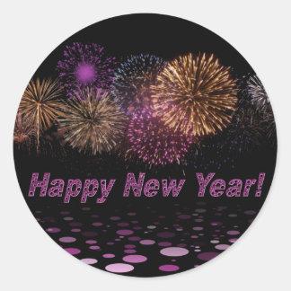 Happy new Year - fireworks Classic Round Sticker